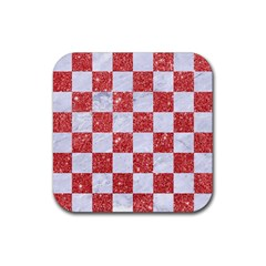 Square1 White Marble & Red Glitter Rubber Square Coaster (4 Pack)  by trendistuff