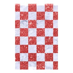 Square1 White Marble & Red Glitter Shower Curtain 48  X 72  (small)  by trendistuff