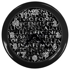 Antique Roman Typographic Pattern Wall Clocks (black) by dflcprints