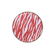 Skin3 White Marble & Red Glitter Hat Clip Ball Marker (10 Pack) by trendistuff