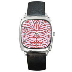 Skin2 White Marble & Red Glitter (r) Square Metal Watch