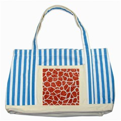 Skin1 White Marble & Red Glitter (r) Striped Blue Tote Bag by trendistuff