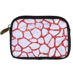 Skin1 White Marble & Red Glitter Digital Camera Cases by trendistuff