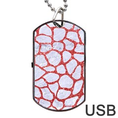 Skin1 White Marble & Red Glitter Dog Tag Usb Flash (one Side) by trendistuff