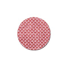 Scales3 White Marble & Red Glitter Golf Ball Marker