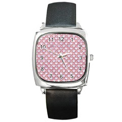 Scales2 White Marble & Red Glitter (r) Square Metal Watch by trendistuff
