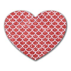 Scales1 White Marble & Red Glitter Heart Mousepads by trendistuff