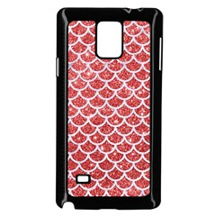 Scales1 White Marble & Red Glitter Samsung Galaxy Note 4 Case (black)