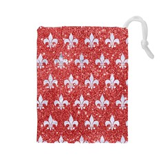 Royal1 White Marble & Red Glitter (r) Drawstring Pouches (large)  by trendistuff