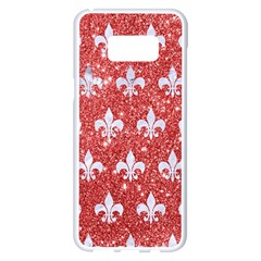 Royal1 White Marble & Red Glitter (r) Samsung Galaxy S8 Plus White Seamless Case by trendistuff
