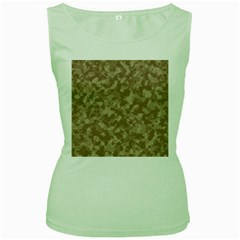Camouflage Tarn Texture Pattern Women s Green Tank Top by Sapixe