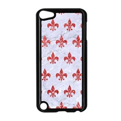 Royal1 White Marble & Red Glitter Apple Ipod Touch 5 Case (black)