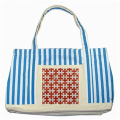 Puzzle1 White Marble & Red Glitter Striped Blue Tote Bag by trendistuff