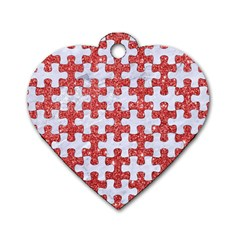 Puzzle1 White Marble & Red Glitter Dog Tag Heart (one Side) by trendistuff