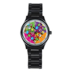 Cartoon Pattern Stainless Steel Round Watch by Sapixe