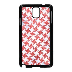 Houndstooth2 White Marble & Red Glitter Samsung Galaxy Note 3 Neo Hardshell Case (black) by trendistuff