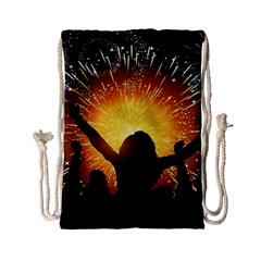 Celebration Night Sky With Fireworks In Various Colors Drawstring Bag (small) by Sapixe