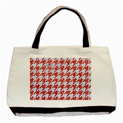 Houndstooth1 White Marble & Red Glitter Basic Tote Bag by trendistuff