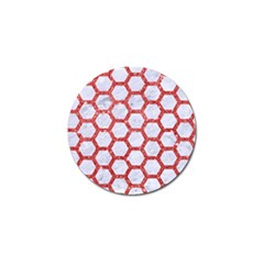 Hexagon2 White Marble & Red Glitter (r) Golf Ball Marker by trendistuff