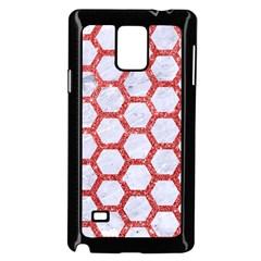 Hexagon2 White Marble & Red Glitter (r) Samsung Galaxy Note 4 Case (black) by trendistuff