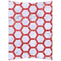 Hexagon2 White Marble & Red Glitter (r) Back Support Cushion by trendistuff
