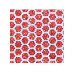 Hexagon2 White Marble & Red Glitter Small Satin Scarf (square) by trendistuff