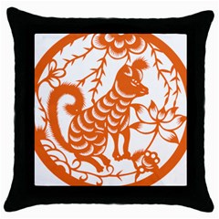 Chinese Zodiac Dog Throw Pillow Case (black) by Sapixe