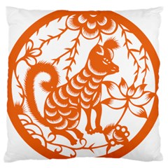 Chinese Zodiac Dog Large Flano Cushion Case (two Sides) by Sapixe