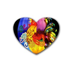 Chinese Zodiac Signs Rubber Coaster (heart)  by Sapixe