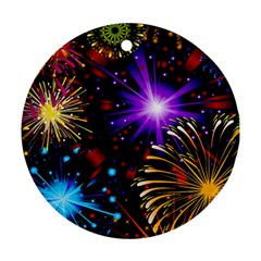 Celebration Fireworks In Red Blue Yellow And Green Color Round Ornament (two Sides) by Sapixe