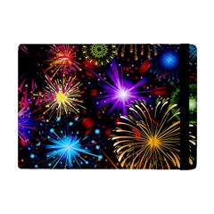 Celebration Fireworks In Red Blue Yellow And Green Color Apple Ipad Mini Flip Case by Sapixe