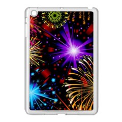 Celebration Fireworks In Red Blue Yellow And Green Color Apple Ipad Mini Case (white) by Sapixe