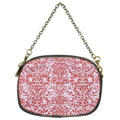 Damask2 White Marble & Red Glitter (r) Chain Purses (two Sides)  by trendistuff