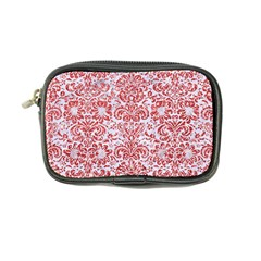 Damask2 White Marble & Red Glitter (r) Coin Purse by trendistuff