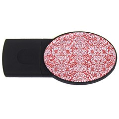 Damask2 White Marble & Red Glitter Usb Flash Drive Oval (4 Gb)