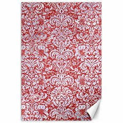 Damask2 White Marble & Red Glitter Canvas 20  X 30   by trendistuff