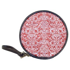 Damask2 White Marble & Red Glitter Classic 20 Cd Wallets by trendistuff