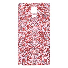 Damask2 White Marble & Red Glitter Galaxy Note 4 Back Case by trendistuff