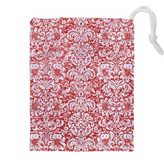 Damask2 White Marble & Red Glitter Drawstring Pouches (xxl) by trendistuff