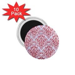 Damask1 White Marble & Red Glitter (r) 1 75  Magnets (10 Pack)  by trendistuff