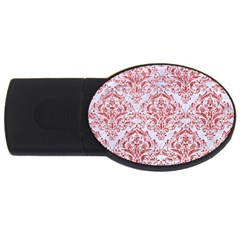 Damask1 White Marble & Red Glitter (r) Usb Flash Drive Oval (2 Gb) by trendistuff