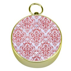 Damask1 White Marble & Red Glitter (r) Gold Compasses by trendistuff