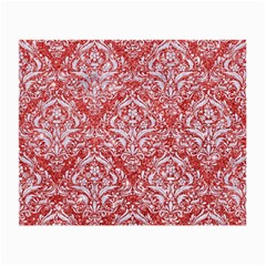 Damask1 White Marble & Red Glitter Small Glasses Cloth by trendistuff