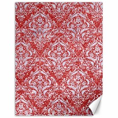 Damask1 White Marble & Red Glitter Canvas 12  X 16   by trendistuff