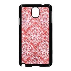 Damask1 White Marble & Red Glitter Samsung Galaxy Note 3 Neo Hardshell Case (black) by trendistuff