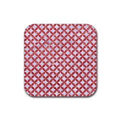 Circles3 White Marble & Red Glitter (r) Rubber Square Coaster (4 Pack)  by trendistuff