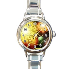 Celebration Colorful Fireworks Beautiful Round Italian Charm Watch by Sapixe