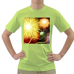 Celebration Colorful Fireworks Beautiful Green T Shirt by Sapixe