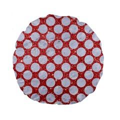 Circles2 White Marble & Red Glitter Standard 15  Premium Flano Round Cushions by trendistuff