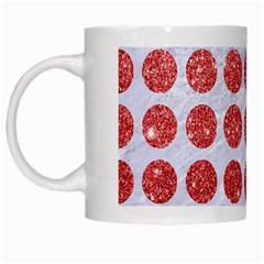 Circles1 White Marble & Red Glitter (r) White Mugs